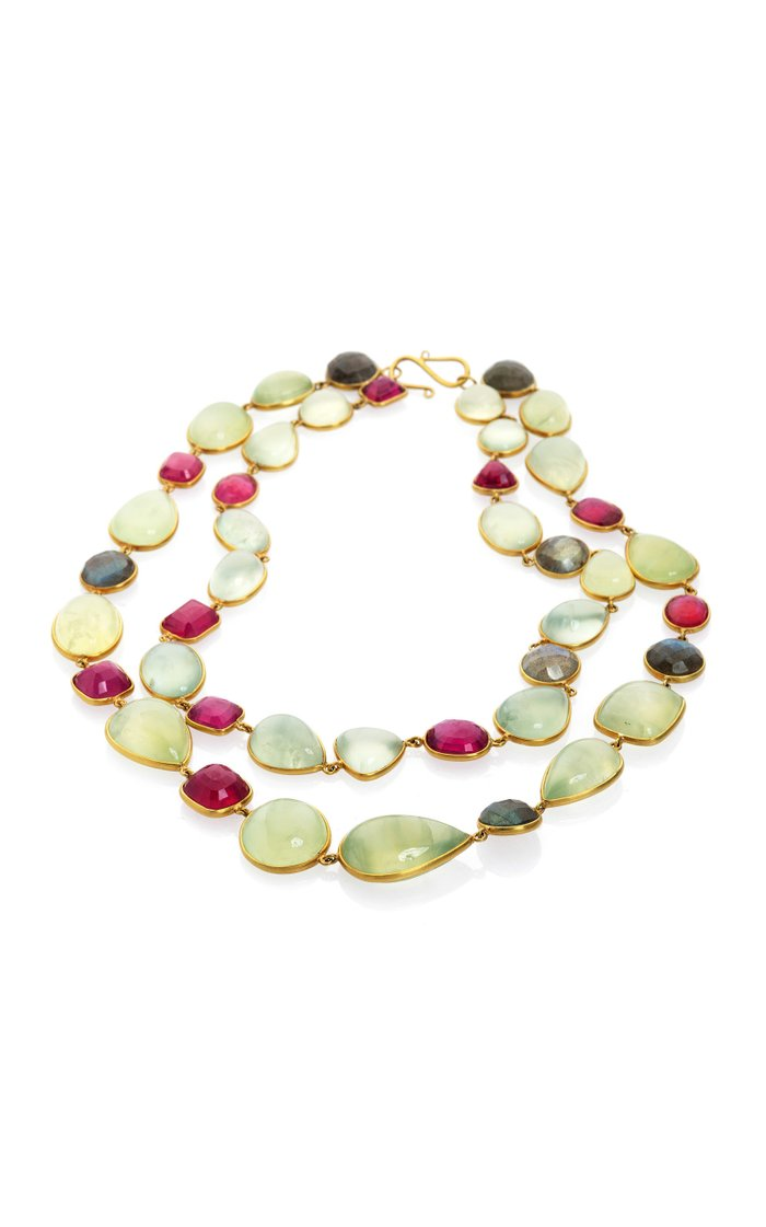 Ruby, Labradorite, Praynite 18K Yellow Gold Necklace