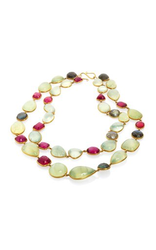 Ruby, Labradorite, Praynite 18K Yellow Gold Necklace