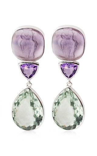 Amethyst, Venetian Glass Cameo 18K White Gold Earrings