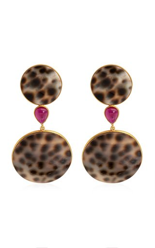 Shell, Ruby 18K Yellow Gold Earrings