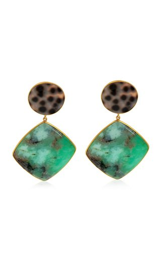 Chrysoprase, Shell 18K Yellow Gold Earrings