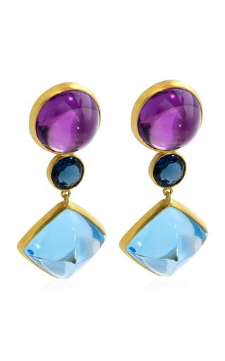 Amethyst, Topaz 18K Yellow Gold Earrings