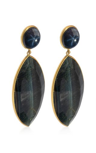 Sapphire, Tiger's Eye 18K Yellow Gold Earrings