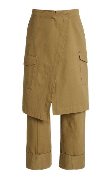 Chelsea Skirt-Overlay Cotton Straight-Leg Pants