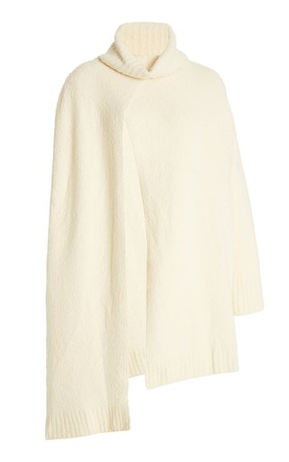 Molly Asymmetric Wool-Blend Turtleneck Sweater Cape