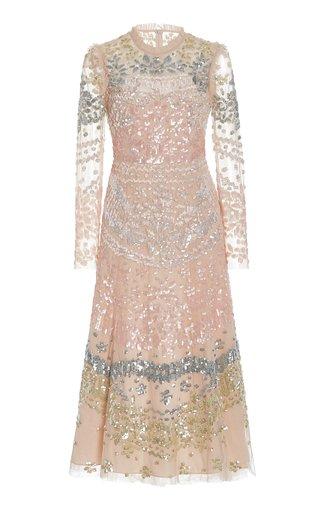 Angeline Sequined Tulle Midi Dress