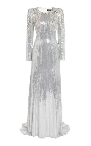 Valenti Crystal-Embellished Sequined Gown