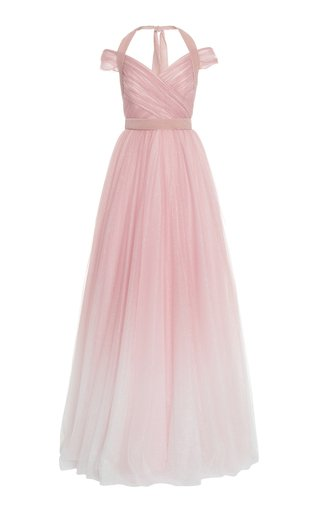 Cindy Glittered Gradient Chiffon Off-The-Shoulder Gown