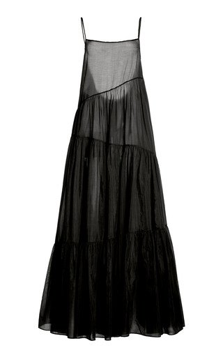 SpecialOrder-Asymmetric Cotton-Silk Voile Tiered Maxi Dress-JC