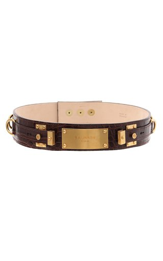 Embossed Croc Print B-Plate Leather Belt