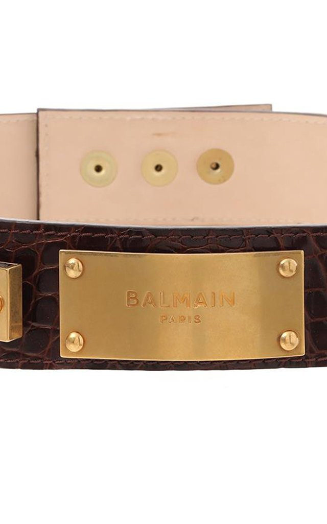 Embossed Croc Print B-Plate Leather Belt