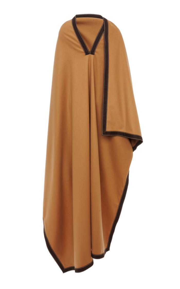 Grosgrain-Trimmed Draped Wool-Cashmere Poncho