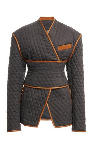Wrap-Effect Quilted Jacket