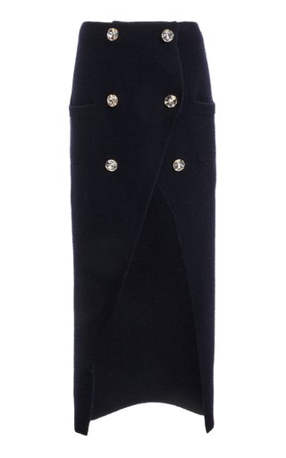 Crystal-Embellished Wool-Blend Midi Wrap Skirt