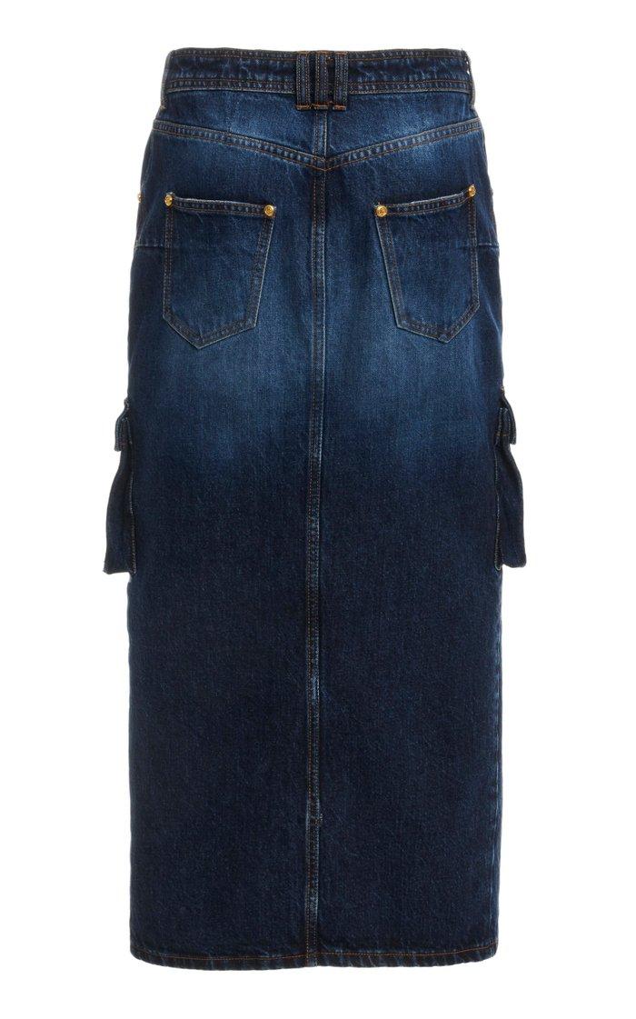 Denim Midi Cargo Skirt
