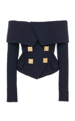Off-The-Shoulder Wool-Cashmere Jacket