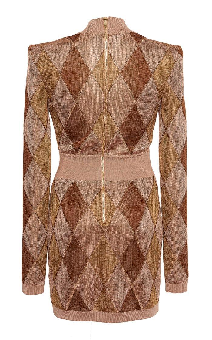 Argyle Intarsia-Knit Mini Dress