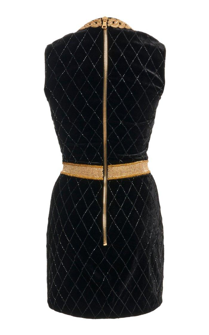Bead-Embellished Velvet Mini Dress