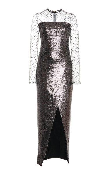 Illusion-Neckline Sequined Dress