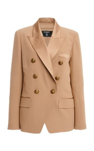 Satin-Trimmed Melton Double-Breasted Blazer