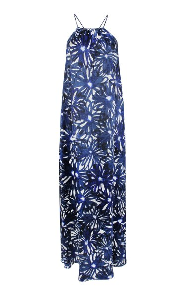 Floral-Print Silk Sun Dress