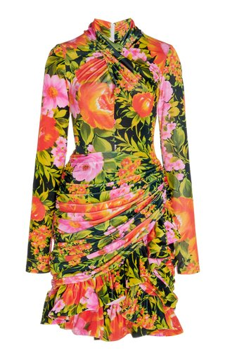 Ruched Floral Jersey Mini Dress