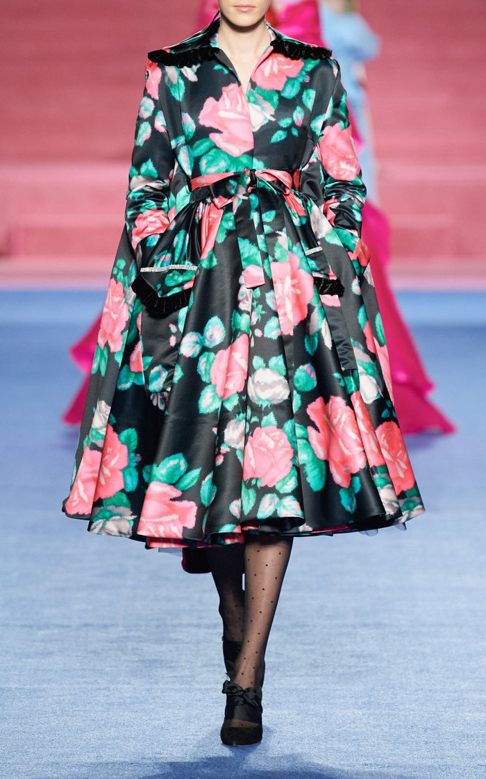 Floral-Printed Satin Dress Coat