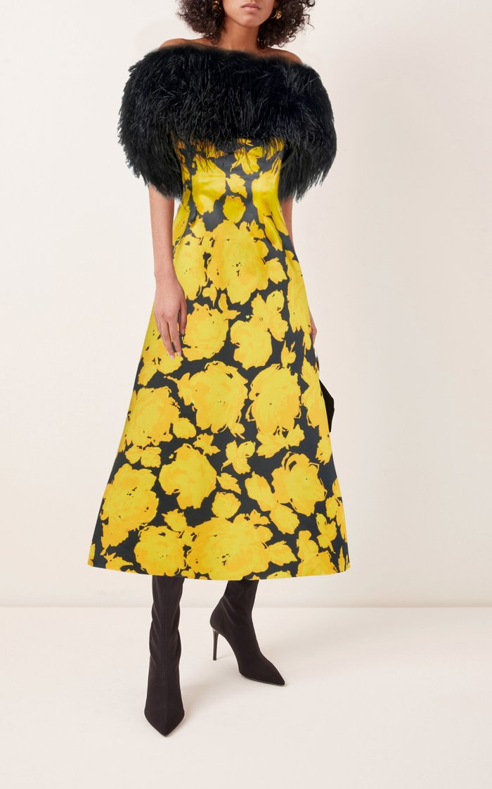 Feather-Trimmed Floral Satin Strapless Maxi Dress