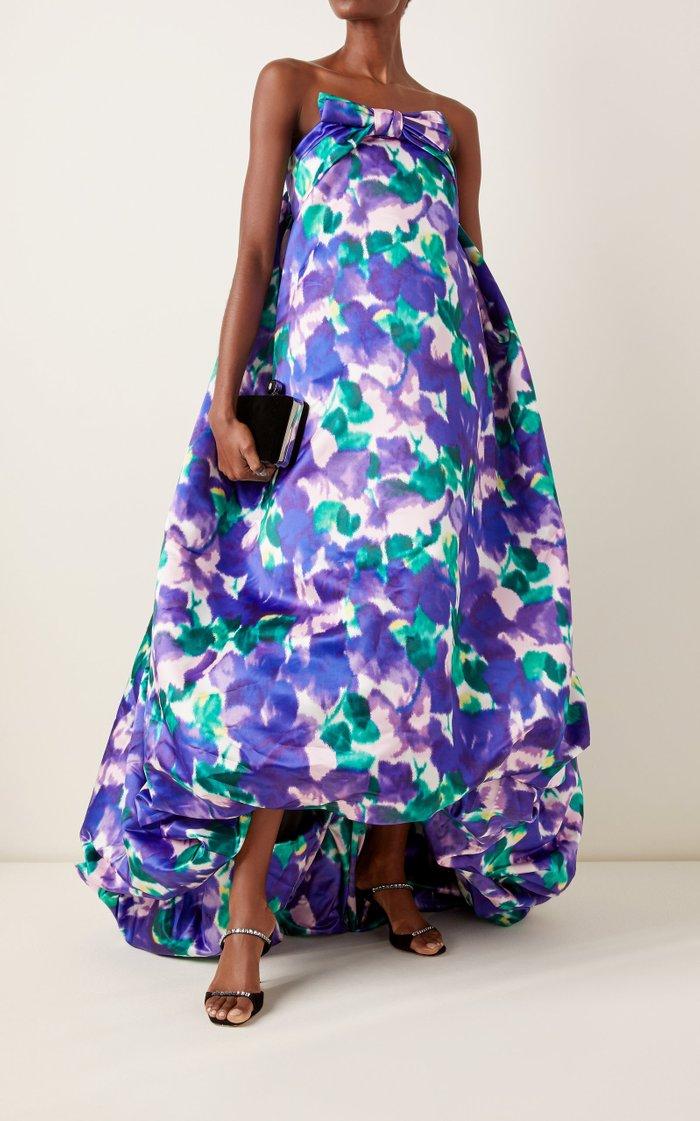 Floral Satin Strapless Bubble-Hem Gown