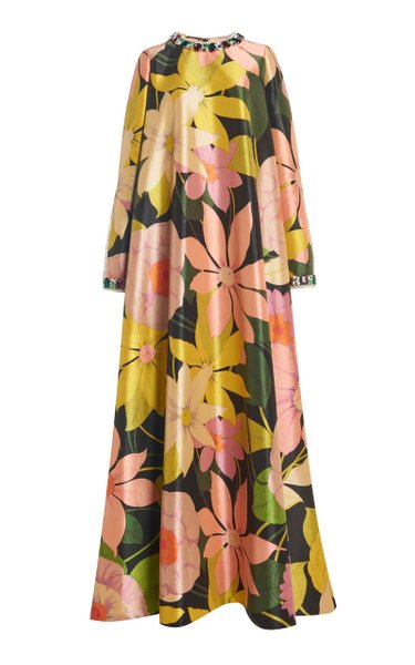 Crystal-Embellished Floral Crepe Maxi Dress
