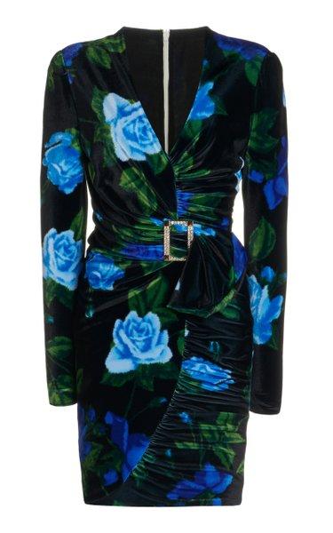 Belted Ruched Floral Velvet Mini Dress