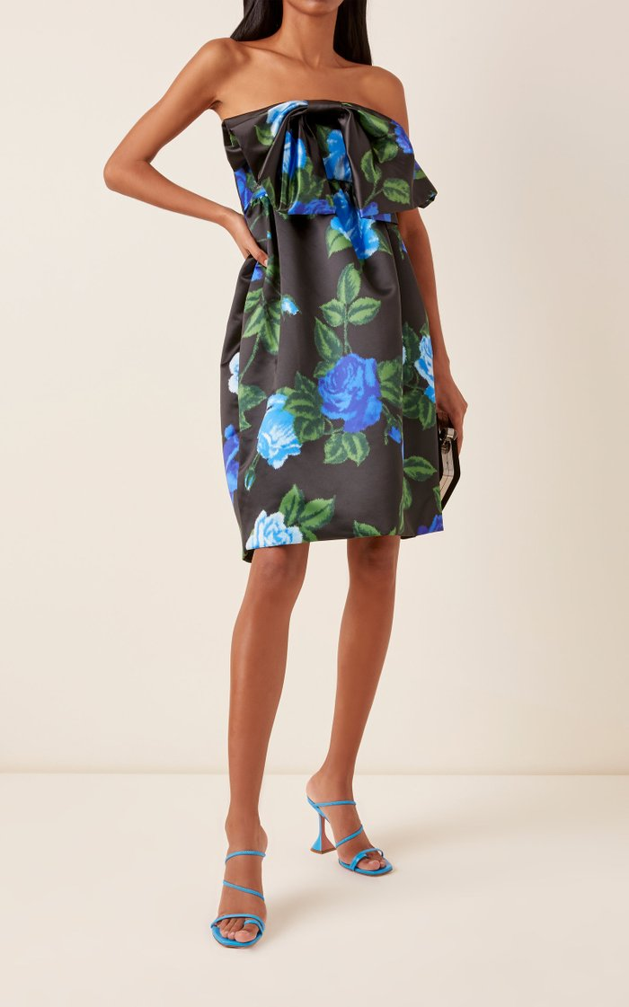 Floral Satin Strapless Mini Dress