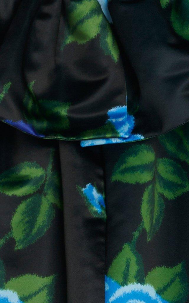 Floral Satin Strapless Mini Dress