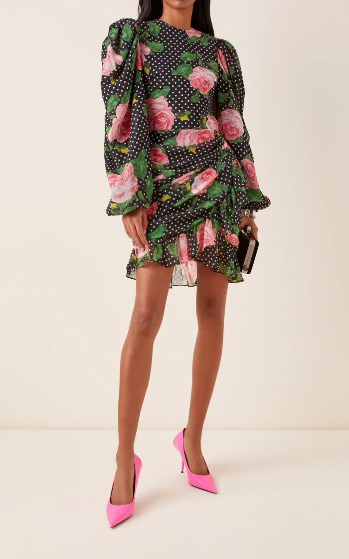 Printed Ruched Georgette Mini Dress