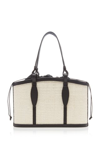 The Small Basket Leather-Trimmed Fique Bag