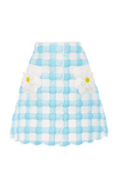 8 Moncler Richard Quinn Gonna Gingham Shell Down Mini Skirt