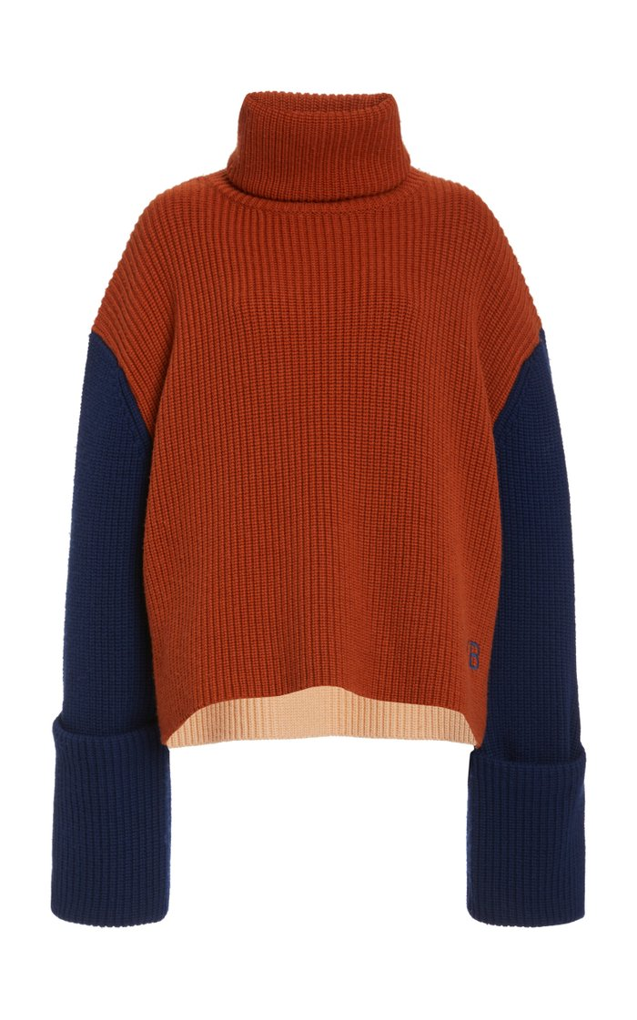 Oversized Colorblock Wool Sweater