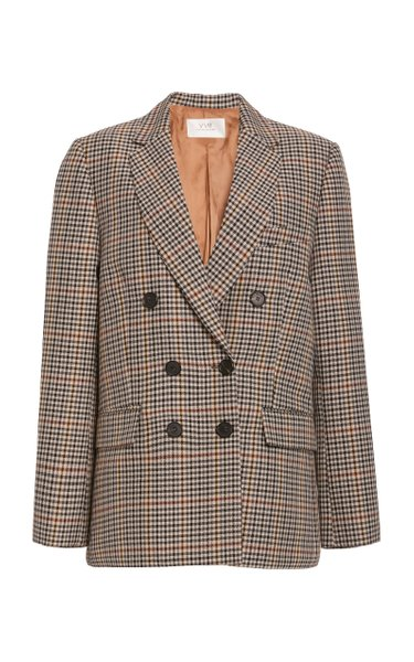 Checked Wool-Blend Double-Breasted Blazer