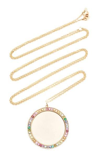 14K Yellow Gold Engravable Multi Sapphire Pendant