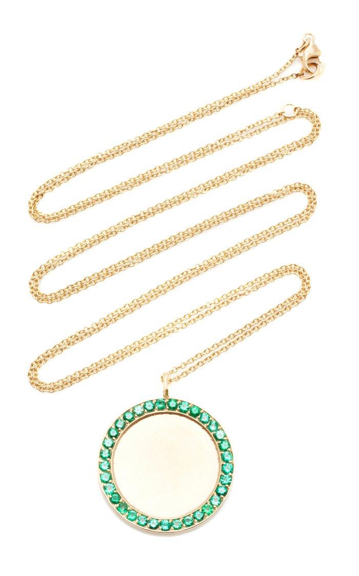 14K Yellow Gold Engravable Emerald Pendant