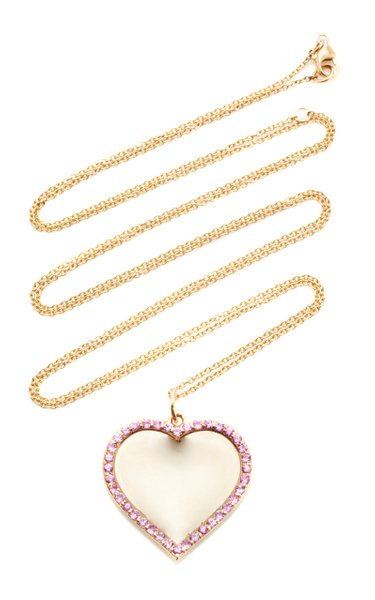 14K Yellow Gold Engravable Pink Sapphire Heart Pendant