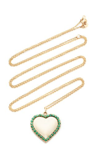 14K Yellow Gold Engravable Emerald Heart Pendant
