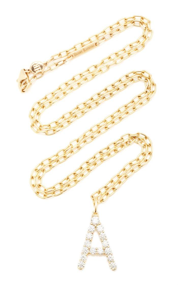 18K Yellow Gold and Diamond Confetti Letter Pendant