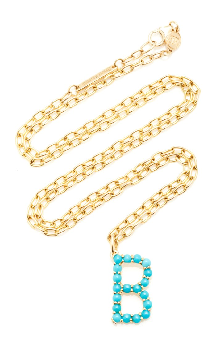 18K Yellow Gold and Turquoise Cabochon Confetti Letter Pendant