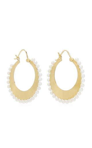 18K Yellow Gold Pearl Hoop Earrings