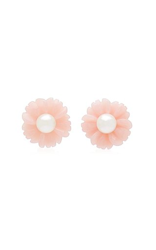 18K Rose Gold Opal, Pearl Earrings