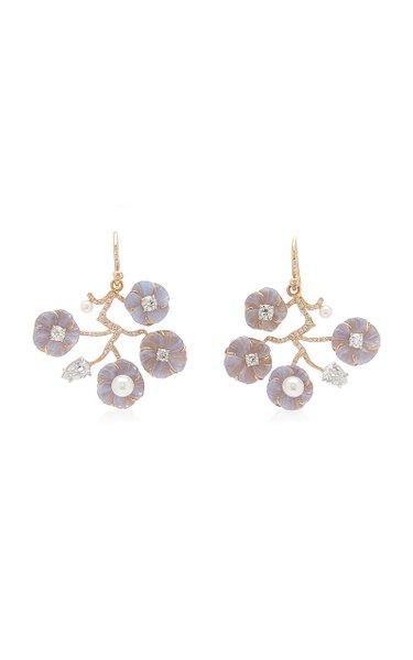 18K Gold Chalcedony, Pearl, Diamond Earrings