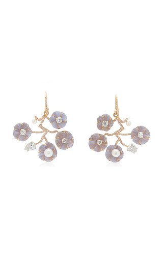 18K Gold Chalcedony, Pearl, Diamond Earrings