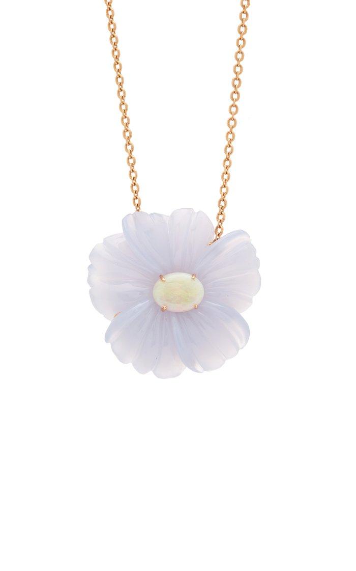 18K Rose Gold Chalcedony, Opal Necklace