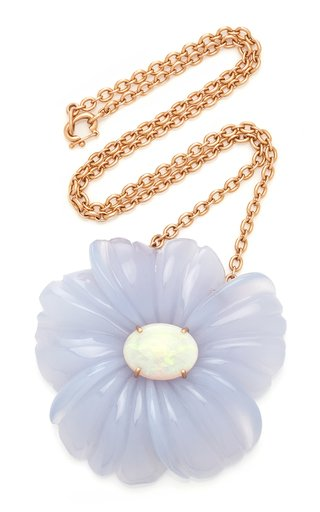 18K Rose Gold Chalcedony, Opal Necklace